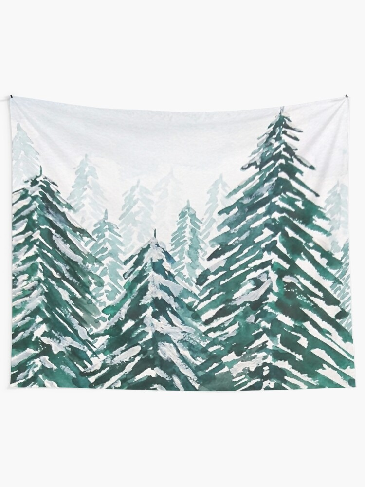 Alternate view of snowy pine forest green  Tapestry
