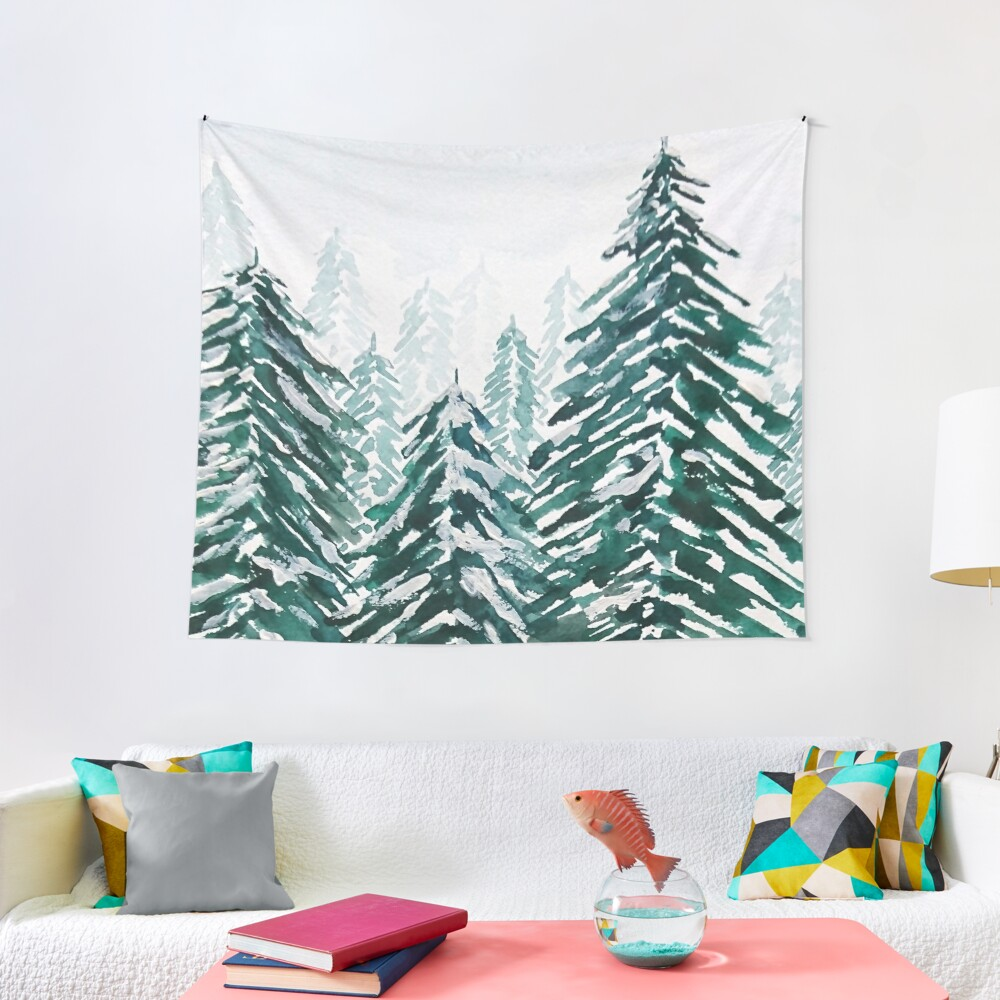 snowy pine forest green  Tapestry