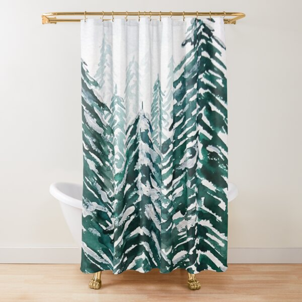 snowy pine forest green  Shower Curtain