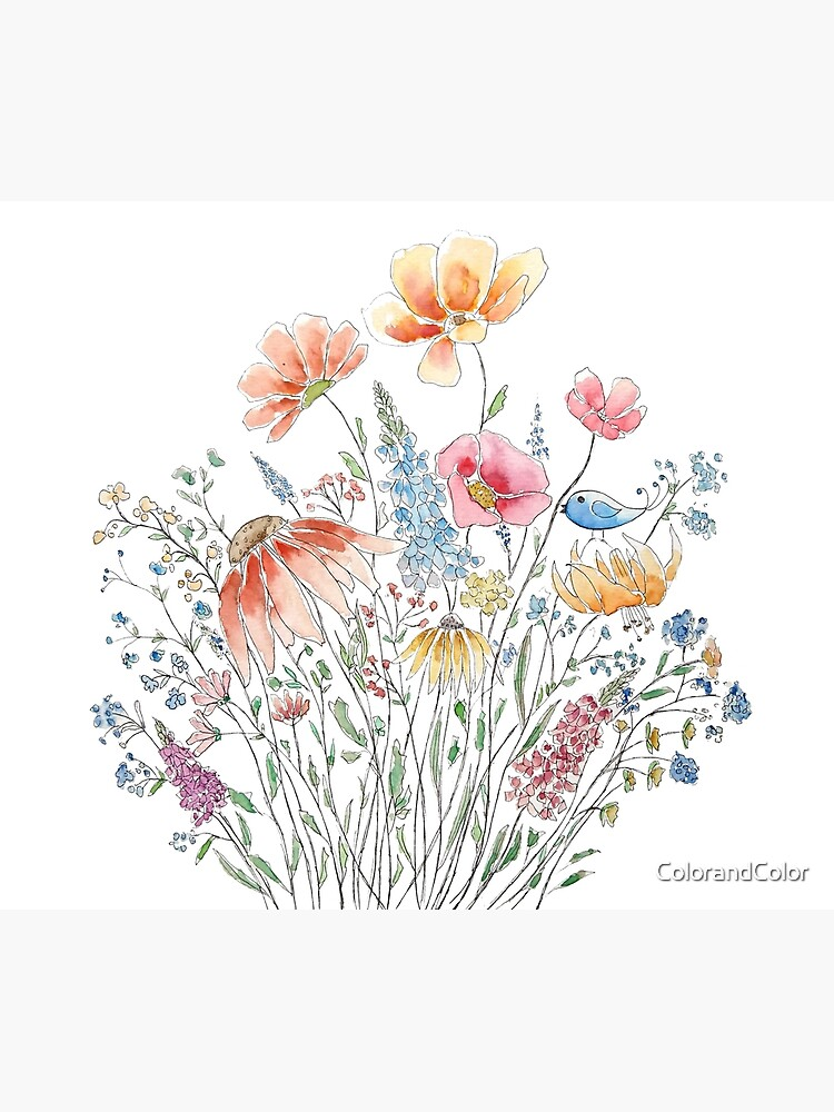 wild flower bouquet and blue bird-line and watercolor 2 by ColorandColor