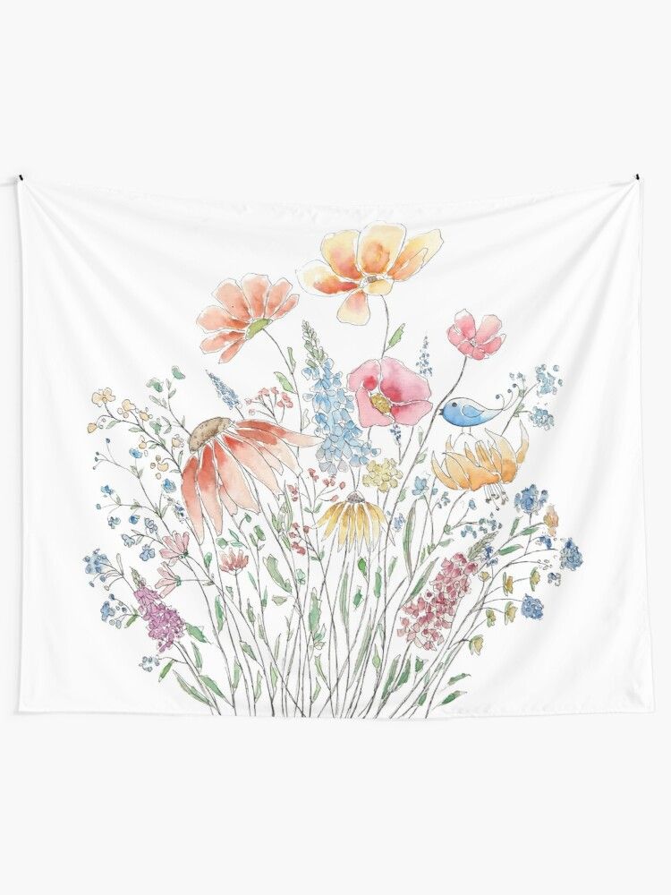 Alternate view of wild flower bouquet and blue bird-line and watercolor 2 Tapestry