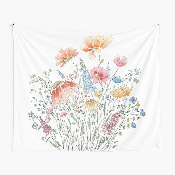 wild flower bouquet and blue bird-line and watercolor 2 Tapestry