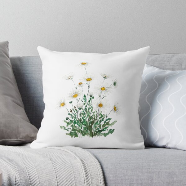 white Margaret daisy watercolor  Throw Pillow