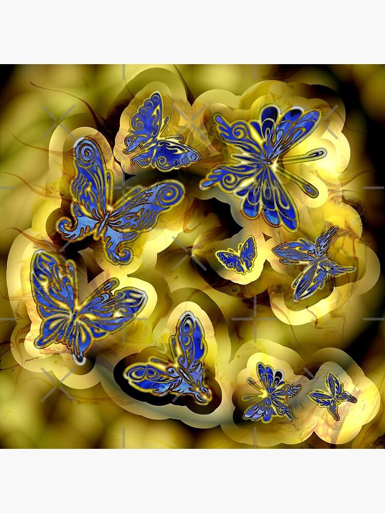 More Blue and Gold Butterflies by kerravonsen