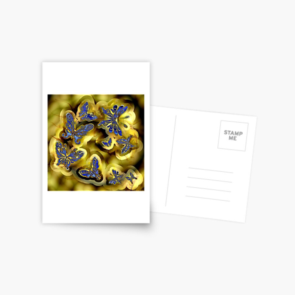 More Blue and Gold Butterflies Postcard