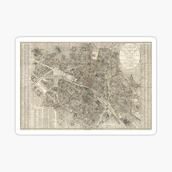 1823 Paris Environs Map / Paris Map Sticker