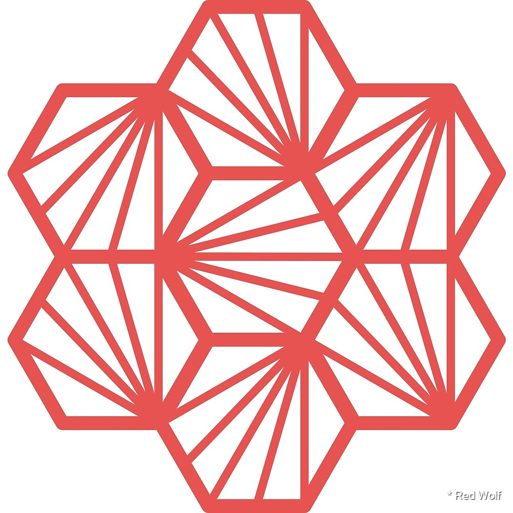 Geometric Pattern: Hexagon Ray: White Red by * Red Wolf