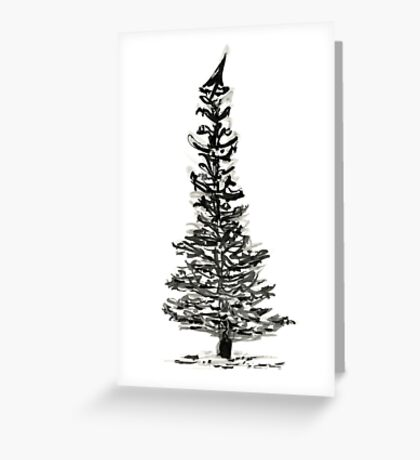 evergreen (haiga X) Greeting Card