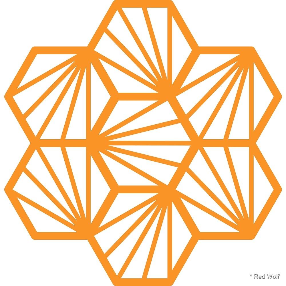 Geometric Pattern: Hexagon Ray: White Orange by * Red Wolf
