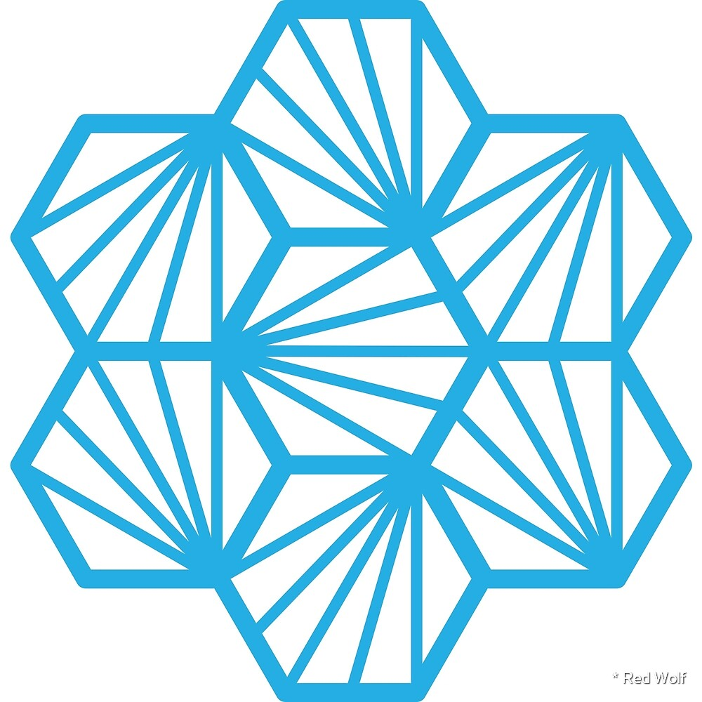 Geometric Pattern: Hexagon Ray: White Blue by * Red Wolf