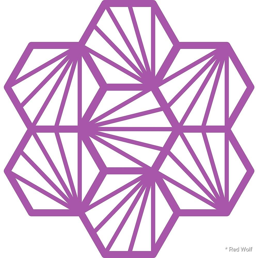 Geometric Pattern: Hexagon Ray: White Purple by * Red Wolf