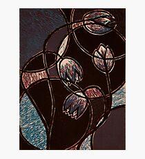 """Purple Flowers, Color reduction print. 8.5""""x11"""" Photographic Print"""