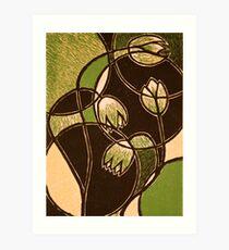 "Green Flower, color reduction lino print. 8.5""x11"" Art Print"