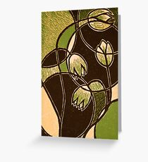 """Green Flower, color reduction lino print. 8.5""""x11"""" Greeting Card"""