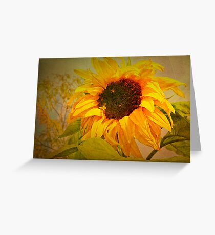 Autumn Sunflower and Bee Greeting Card