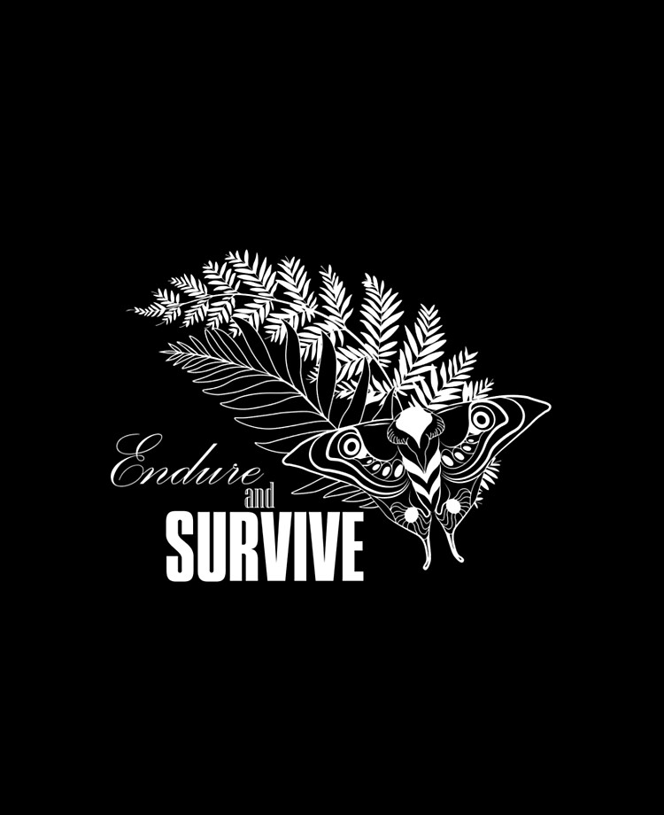 Endure And Survive Ellie S Tattoo Tlou2 White On Black Ipad Case Skin By Ericsownart Redbubble
