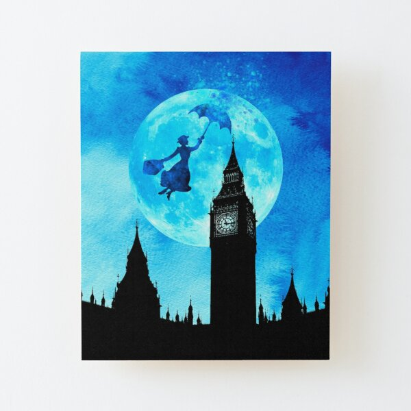 Magical Watercolor Night - Mary Poppins Wood Mounted Print