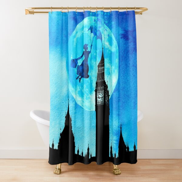 Magical Watercolor Night - Mary Poppins Shower Curtain