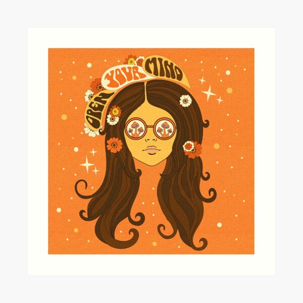 Psychedelic 70s Girl, Open Your Mind Art Print