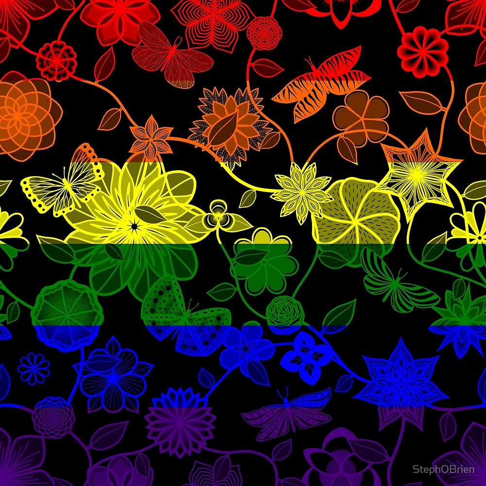 Butterfly Garden, Pride Flag Series - LGBTQ by StephOBrien