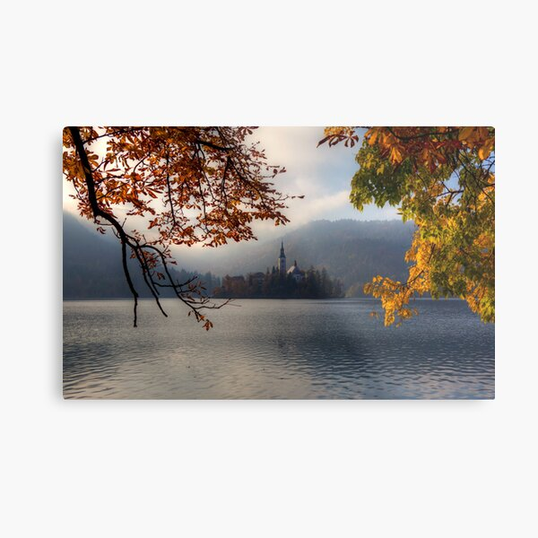 Autumn in Bled Metal Print