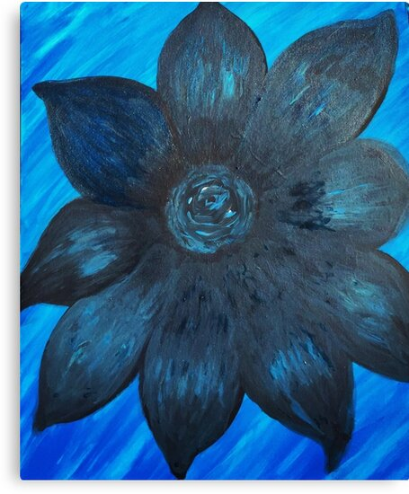 Black and Blue Flower in the Water by LindaGLarsenArt by lindaglarsen