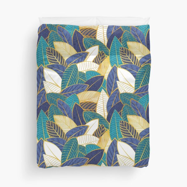Leaf wall // navy blue royal blue and teal leaves golden lines Duvet Cover