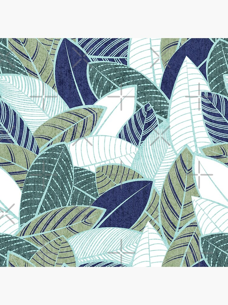Leaf wall // navy blue pine and sage green leaves mint lines by SelmaCardoso