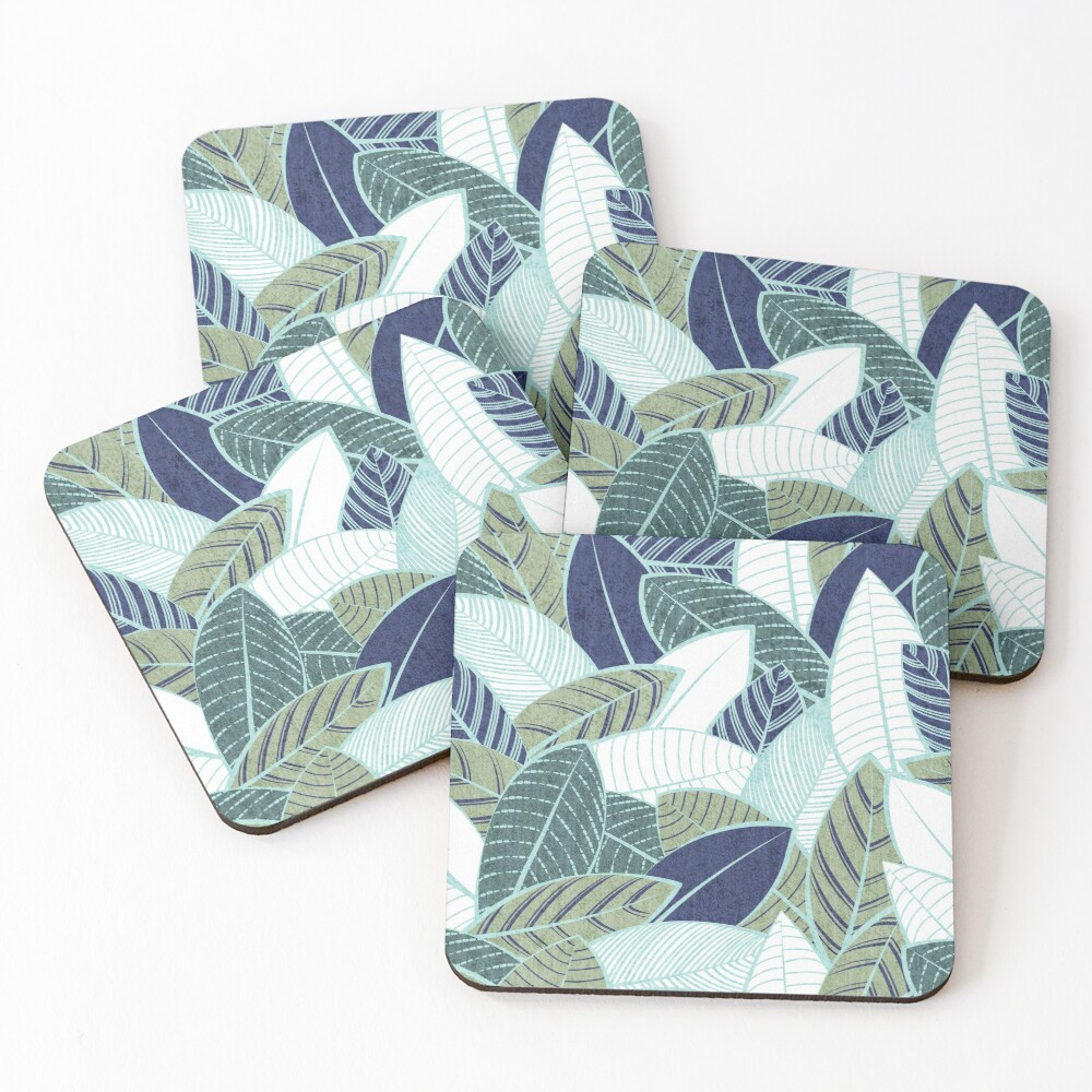 Leaf wall // navy blue pine and sage green leaves mint lines Coasters (Set of 4)