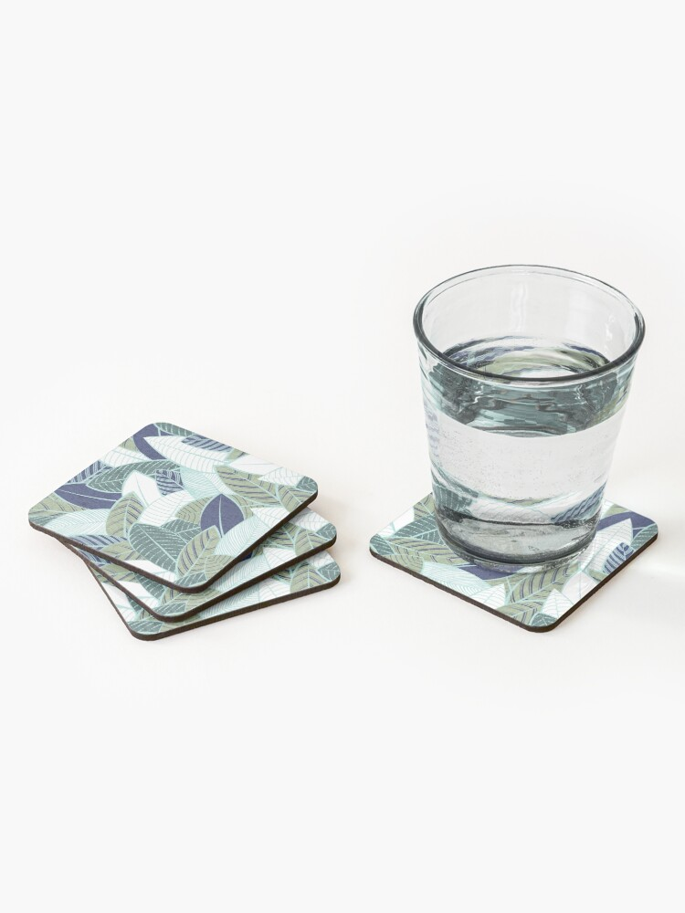 Alternate view of Leaf wall // navy blue pine and sage green leaves mint lines Coasters (Set of 4)