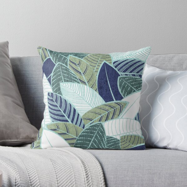 Blattwand // Marineblau Kiefer und Salbeigrün Blätter Minze Linien Dekokissen