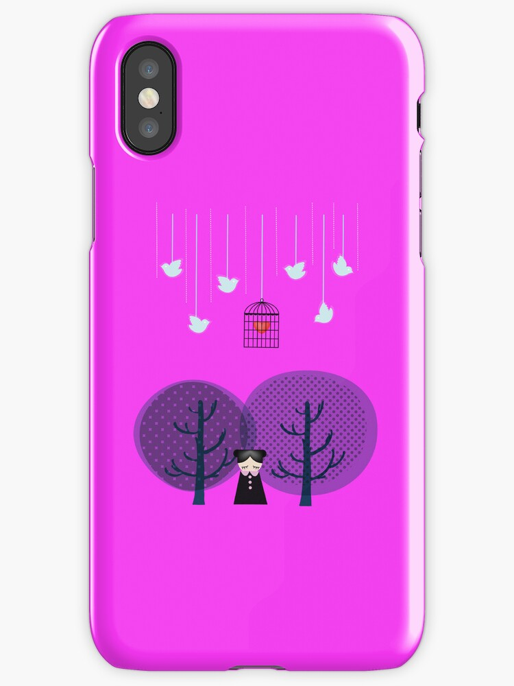 Vector Illustration in Fuschia Iphone Case by Voila and Black Ribbon