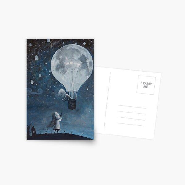 hot air balloon light bulb moon Postcard