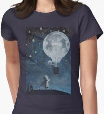 hot air balloon light bulb moon Women's Fitted T-Shirt