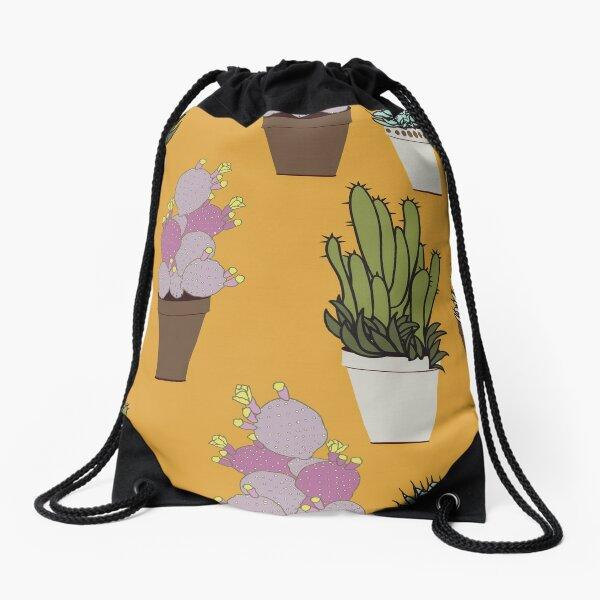Cactus in Pots on Mango Drawstring Bag