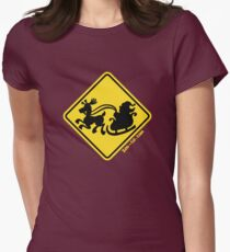 Warning Santa Claus Ahead! Womens Fitted T-Shirt