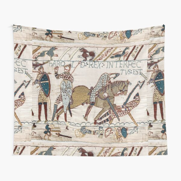 Bayeux Tapestry. King Harold is killed. Arrow in eye. Tapestry