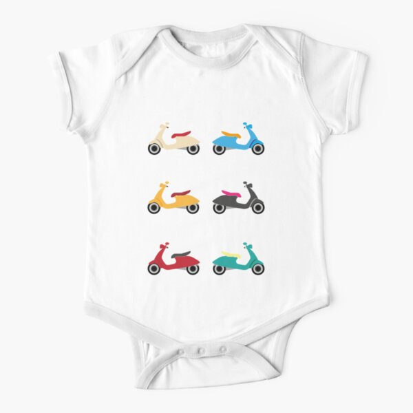 Colourful vespas Short Sleeve Baby One-Piece