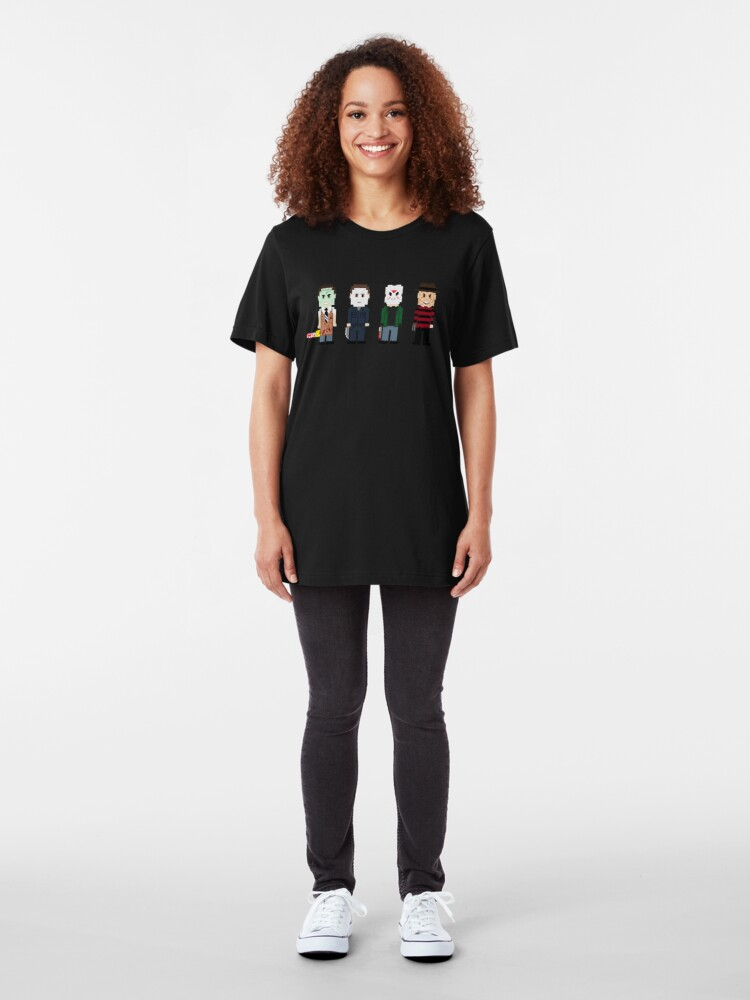 Alternate view of 8-Bit Monsters! Slim Fit T-Shirt