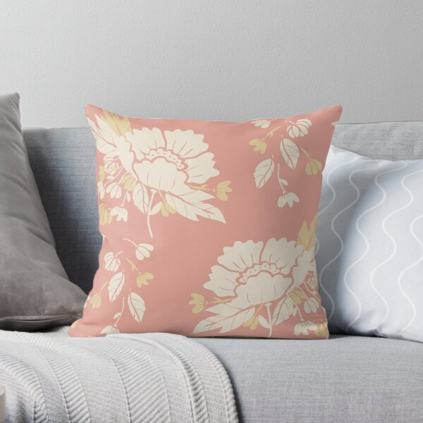 Peonies on Coral Throw Pillow