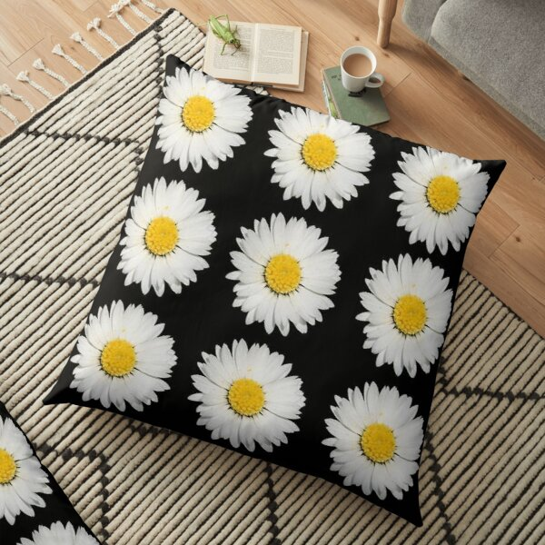 Nine Common Daisies Isolated on A Black Background Floor Pillow