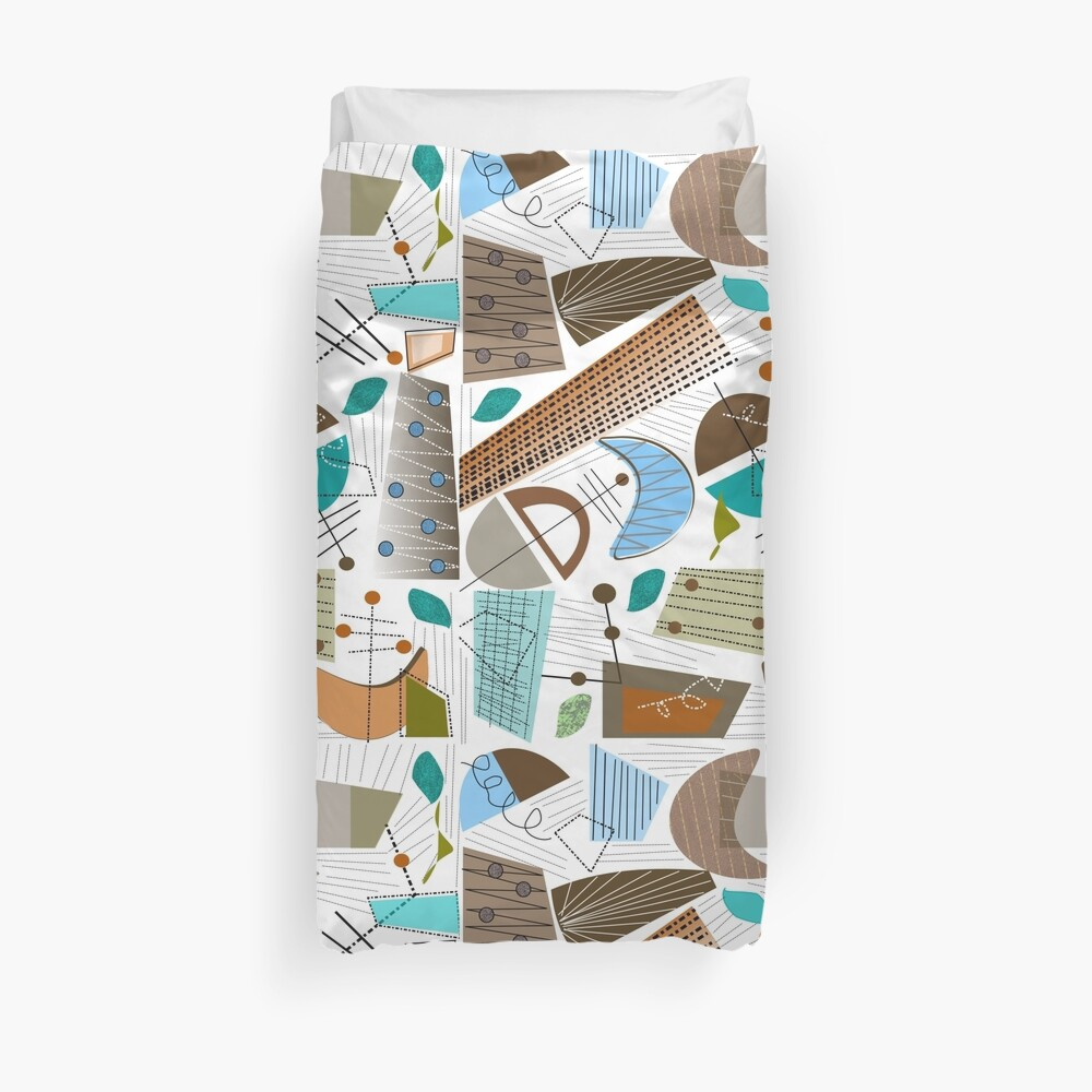 Mid-Century Modern Abstract Earth Tones Duvet Cover