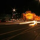 Flinders Street Station by Night, Melbourne by Leigh Penfold