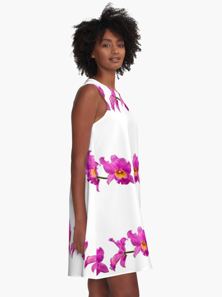 Alternate view of Orchids #3 A-Line Dress