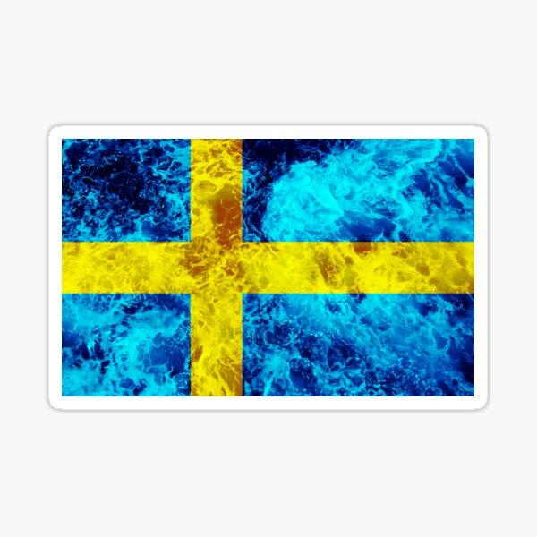 Flag of Sweden - Ocean Waves Sticker