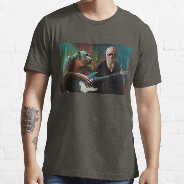 Darwin and Ape Playing Guitar Pop-Culture Art Essential T-Shirt
