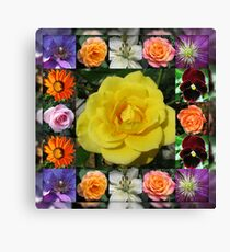 Vibrant Summer Flowers Collage featuring Roses Leinwanddruck