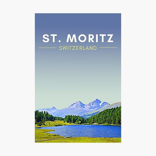 St Moritz - Switzerland Vintage Travel art Photographic Print