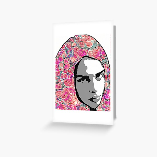 Portrait with Paper Marbling Greeting Card