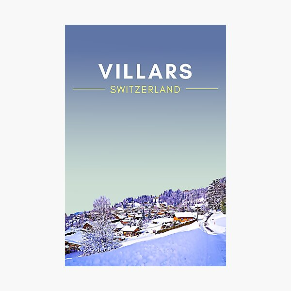 Villars Winter - Switzerland Vintage Travel art Photographic Print